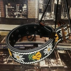 Black and gold floral belt. Size 36 inch